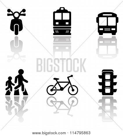 road symbols set with reflection