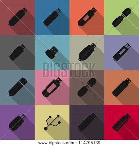 Icons Flash Drive, Vector Illustration.