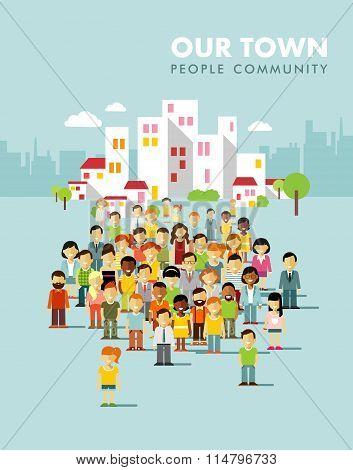 Modern multicultural society concept with city people in flat style