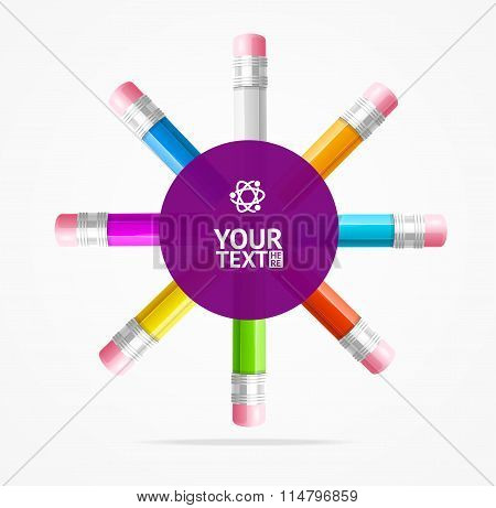 Color Pencils Circle Background. Vector