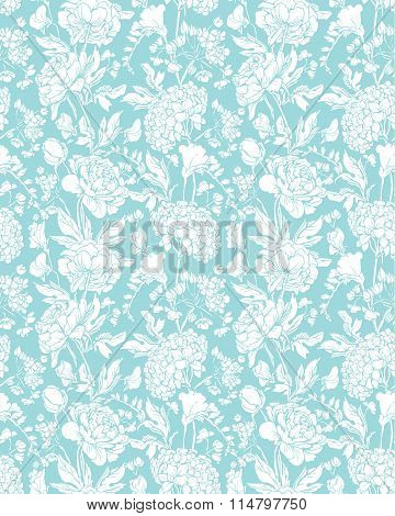 Seamless Pattern With Realistic Graphic Flowers - Sweet Pea, Peony And Gardenia - Hand Drawn Backgro