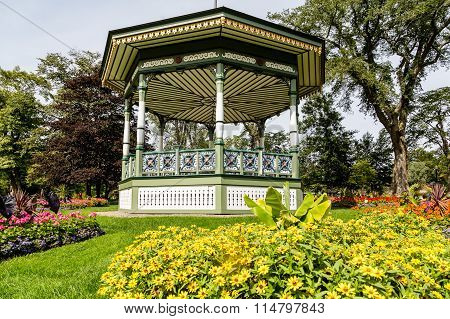 Gazebo And Daisies In Garden
