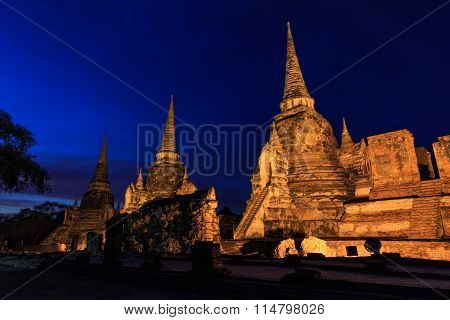 Asian religious architecture. Ancient Buddhist pagoda ruins at Wat Phra Sri Sanphet temple