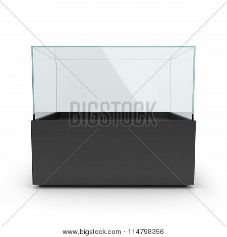 Empty Long Black Showcase With Pedestal, Perspective