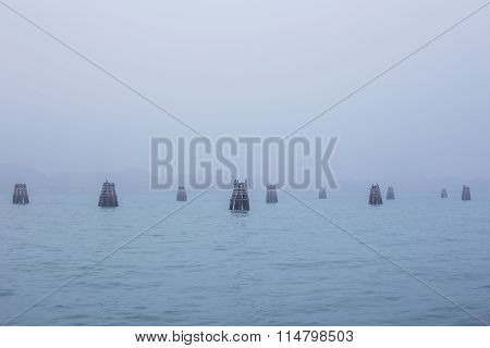 Fog View On Giudecca Island In Venice, Italy