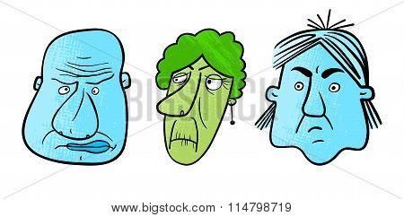 Three Unhappy Faces