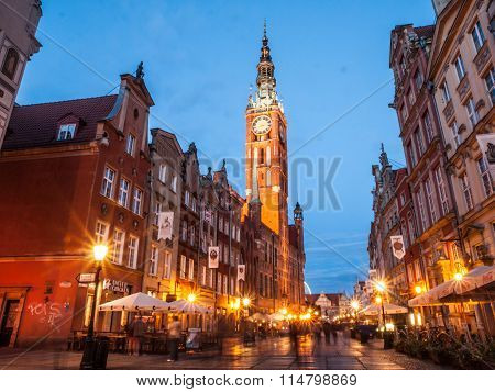 Long Lane with Town Hall tower in Old town of Gdansk by night