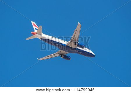 British Airways Airbus 320 is taking off from Tenerife South airport