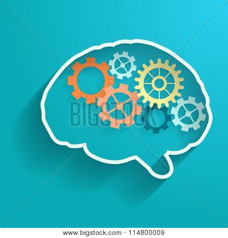 Human brain with gears. Vector for your design.