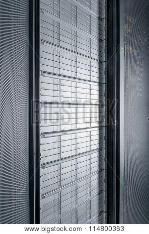 network server room with racks