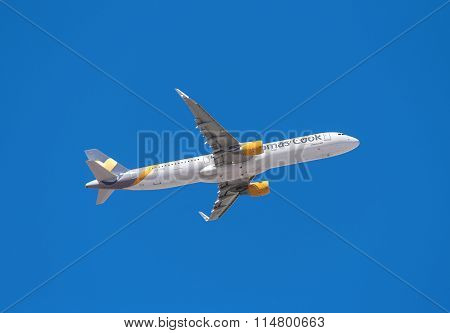 Thomas Cook Airbus 321 is taking off from Tenerife South airport