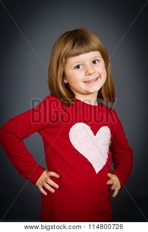 Beautiful Smiling Girl Isolated Over Grey