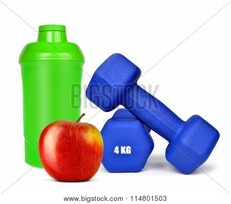 Blue dumbbells with apple and protein shaker