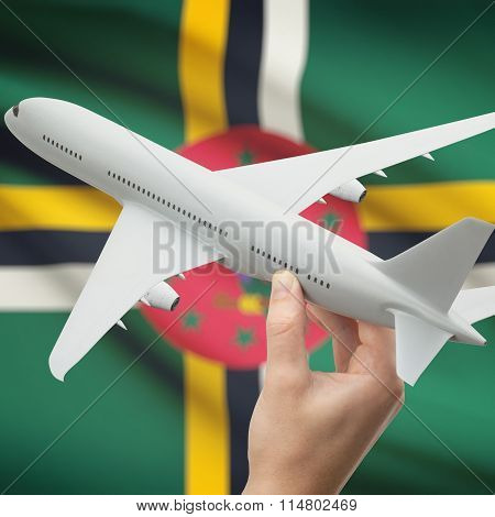 Airplane In Hand With Flag On Background - Dominica