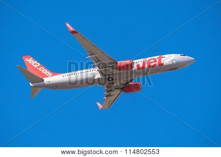 Jet2 Boeing 737 is taking off from Tenerife South airport