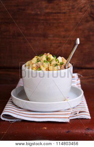 Salad Potato Cod Liver Onions And Egg