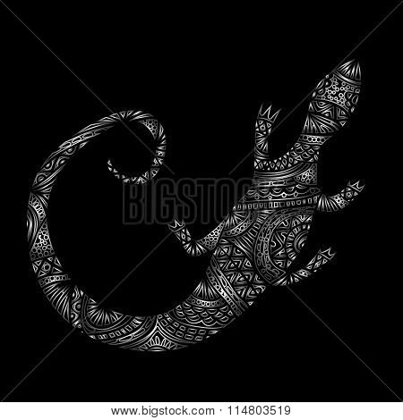 Silver or metallic lizard or chameleon