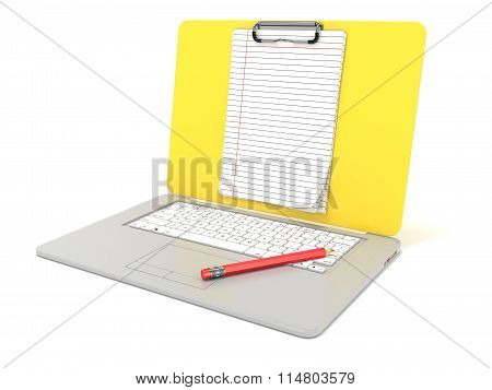 Blank clipboard lined paper on laptop. Side view. 3D