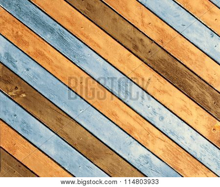 Texture - old wooden boards of blue and brown color