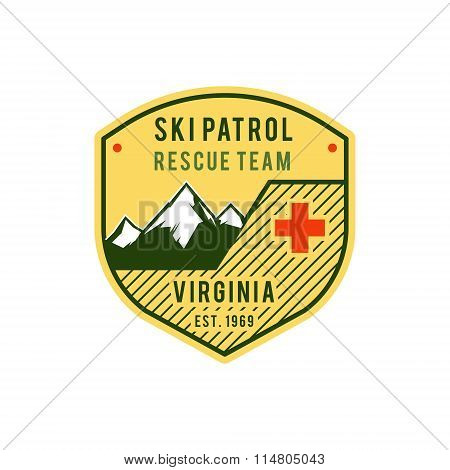 Ski Patrol Label. Retro Mountain winter sports explorer badge. Outdoor mountain adventure logo desig