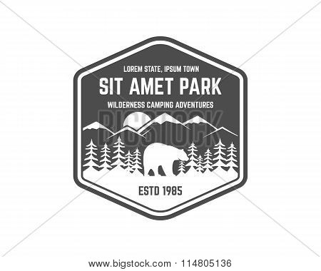 National park vintage badge. Mountain explorer label. Outdoor adventure logo design with bear. Trave