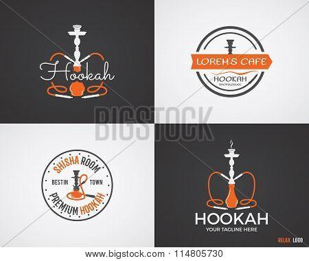 Set of Hookah relax labels, badges and design elements in 2 color variations. Vintage shisha logo. L