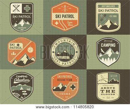 Set of Retro style Ski Club, Patrol Labels. Classic Mountain elements. Winter or summer camping expl