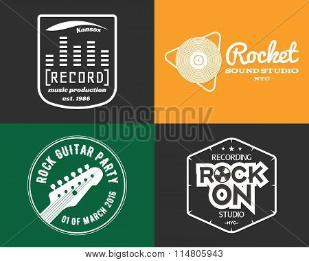 Vector music production studio logos set. Musical label icons. Music insignia and emblems print or l