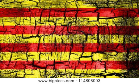 Flag of Catalonia, Catalan Flag painted on cracked ground