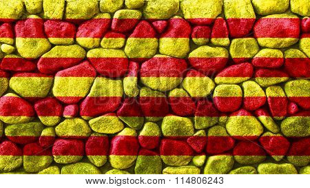 Flag of Catalonia, Catalan Flag painted on stone