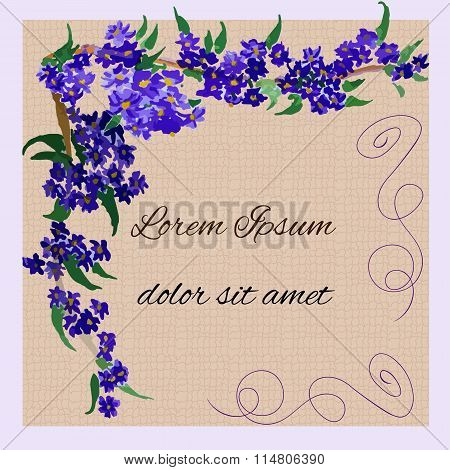 invitation with watercolor lilac flowers