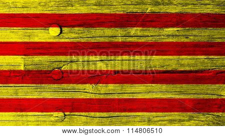 Flag of Catalonia, Catalan Flag painted on wood