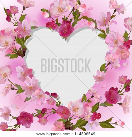 Spring background with heart in flowers