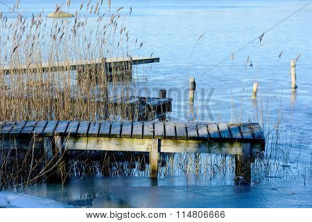 Wooden Pier In Winter