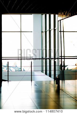 lobby of a modern office building with glass walls