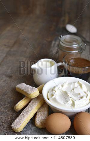 Ingredients For Making Tiramisu.