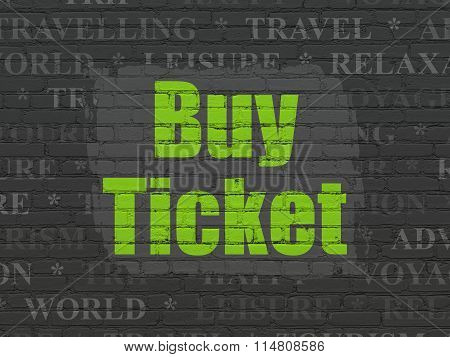 Travel concept: Buy Ticket on wall background