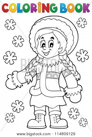 Coloring book Inuit thematics 2 - eps10 vector illustration.