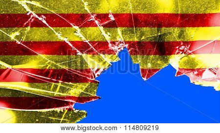 Flag of Catalonia, Catalan Flag painted on broken glass