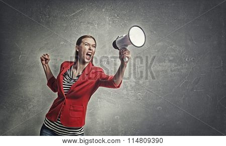 Woman making loud announcement