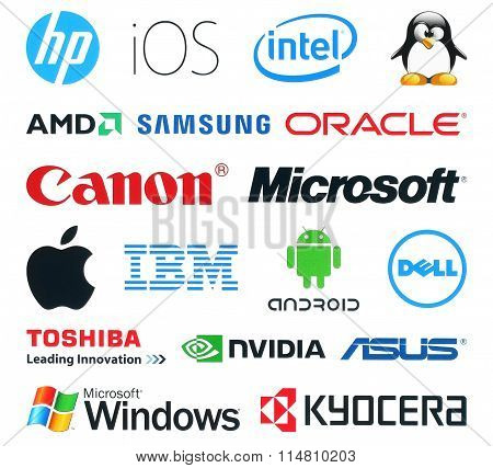 Collection of popular technology logos