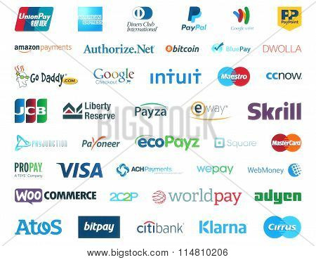 Collection of popular payment system logos