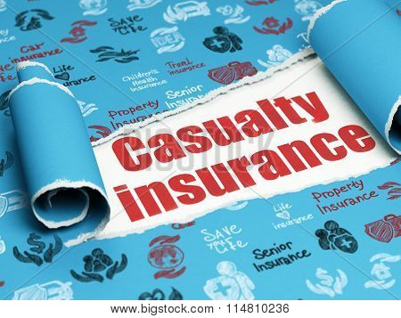 Insurance concept: red text Casualty Insurance under the piece of  torn paper