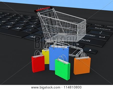 3d shopping cart and bags on laptop