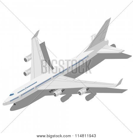 Civil aircraft Isometric vector illustration isolated on white background.