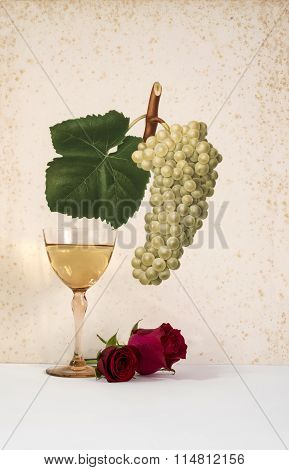 old glass of white wine with pink background decorated with bunch of grapes