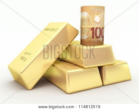 Canadian dollar banknote roll and gold bars