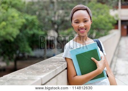 pretty african american college girl portrait on campus