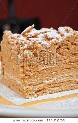 Cake Napoleon closeup