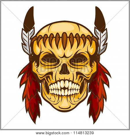 American native chief skull -  vintage vesign